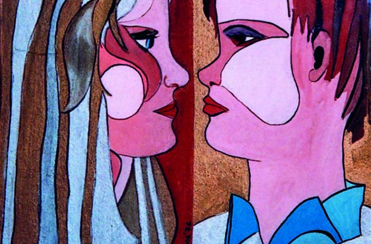 1974, La coppia, tempera su legno, cm. 25x30