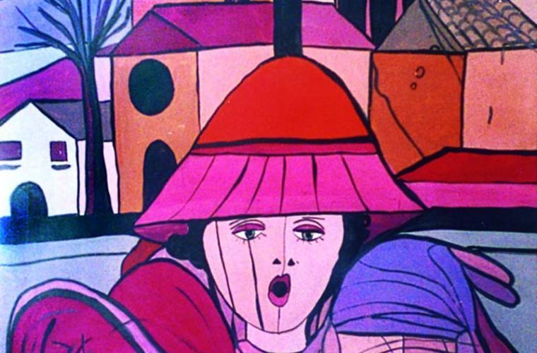 1976 Prima di uscire_tempera su cartoncino_cm. 90 x 70 camp mod