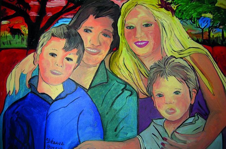2011, Famiglia Quirolpe (Andrea-Francesca-Alessandro e Stefano), olio su tela, cm. 60x80