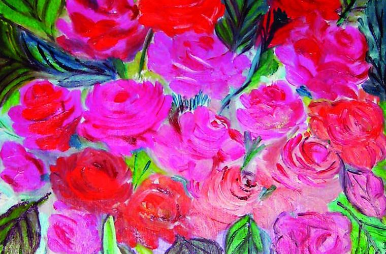 2012, Centrino e vaso di fiori, olio su tavola, cm. 30x70
