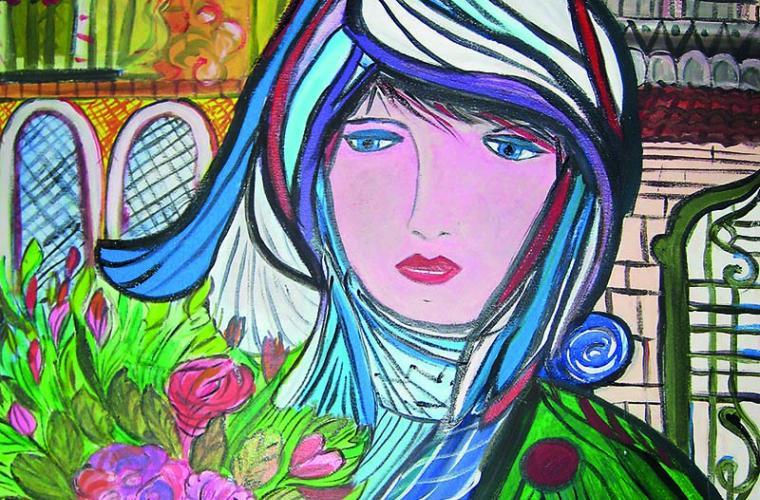 2012, Donna con velo, olio su tela, cm. 60x80 camp contr