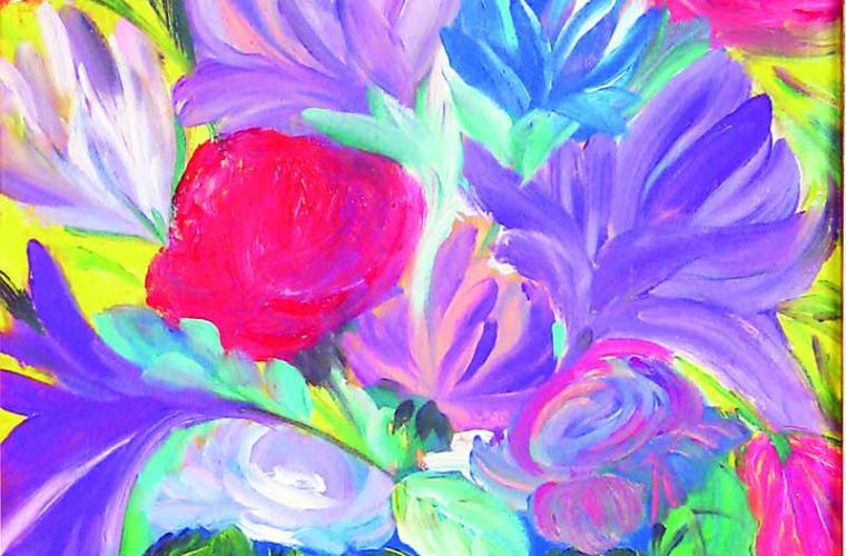 2012, Vaso di Rose, olio su tavola, cm. 30x70